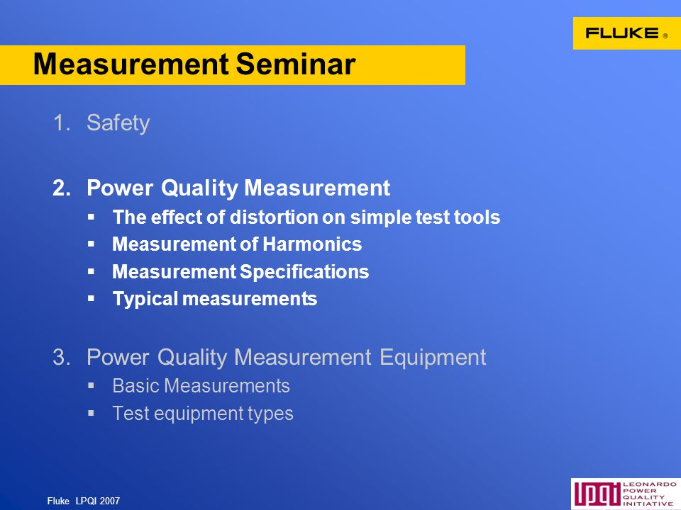 Measurement Seminar Safety Power Quality Measurement