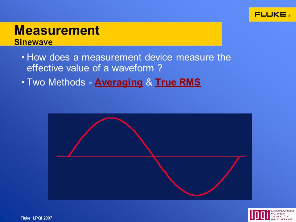 Measurement Sinewave How does a measurement device measure the effective value of a waveform .