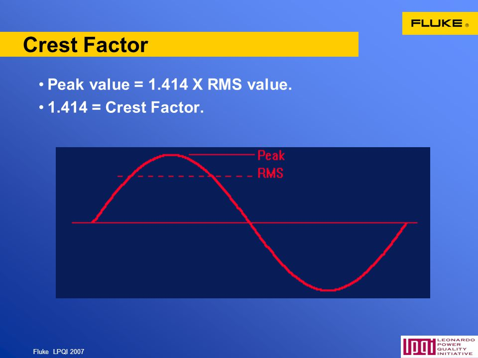 Crest Factor Peak value = 1.414 X RMS value. 1.414 = Crest Factor.