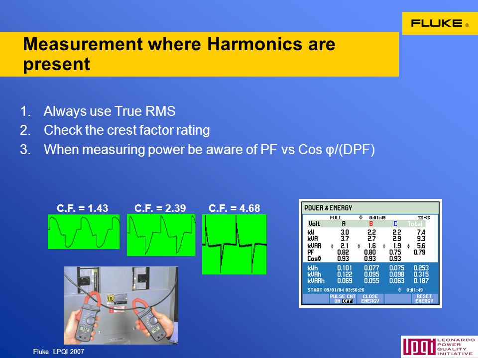 Measurement where Harmonics are present
