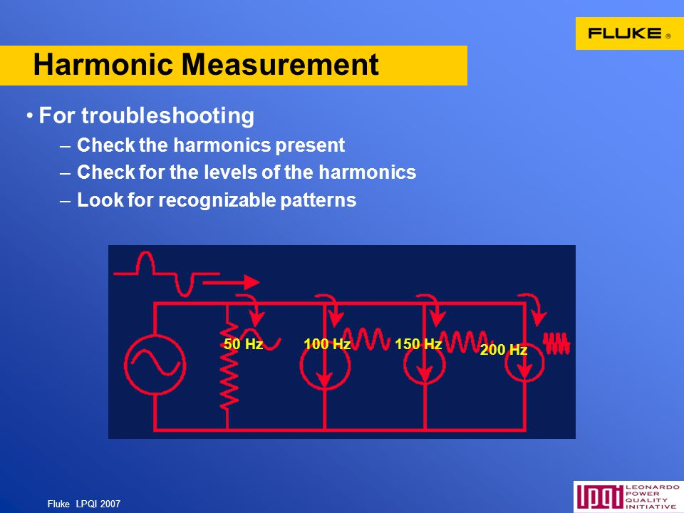 Harmonic Measurement For troubleshooting Check the harmonics present
