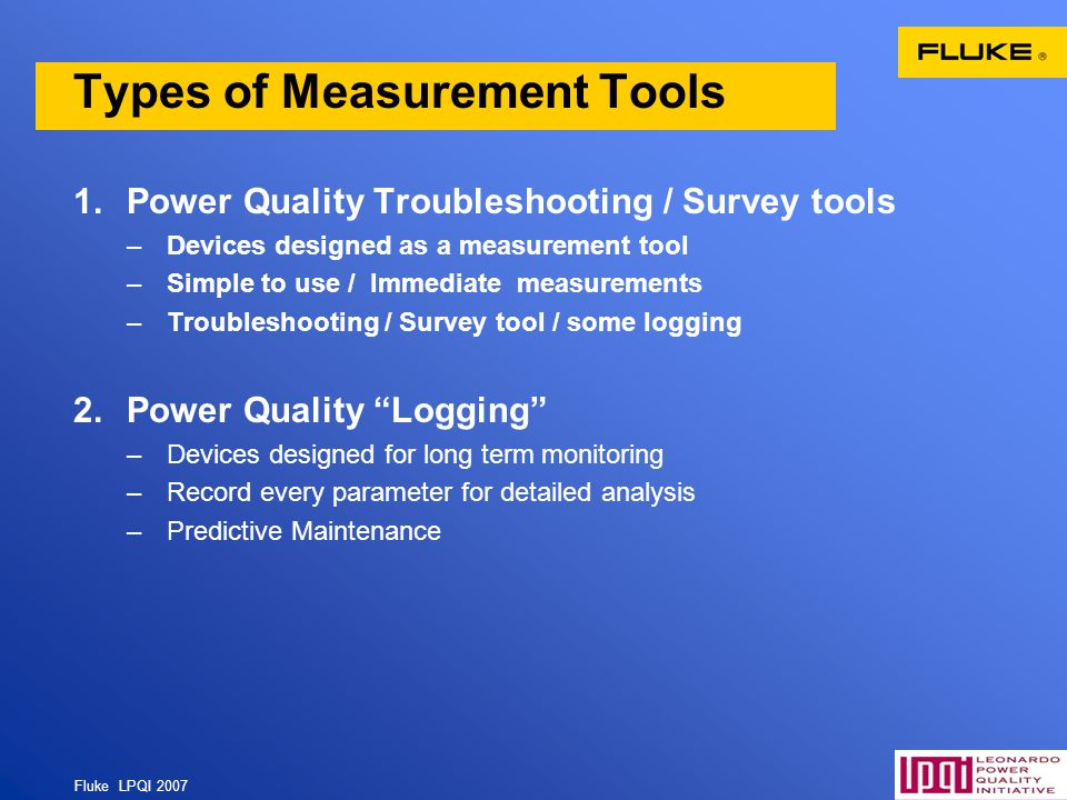 Types of Measurement Tools