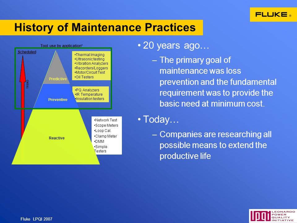 History of Maintenance Practices