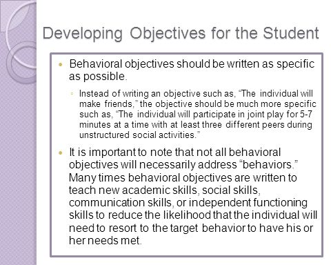 Developing Objectives for the Student