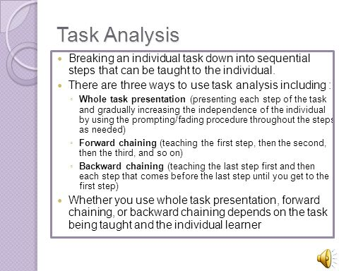 Task Analysis Breaking an individual task down into sequential steps that can be taught to the individual.