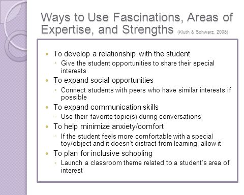Ways to Use Fascinations, Areas of Expertise, and Strengths (Kluth & Schwarz, 2008)