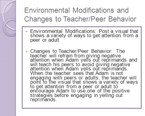 Environmental Modifications and Changes to Teacher/Peer Behavior