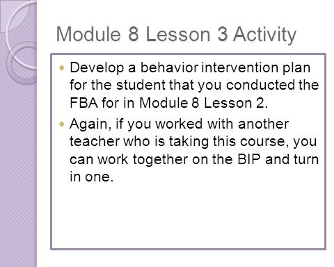 Module 8 Lesson 3 Activity