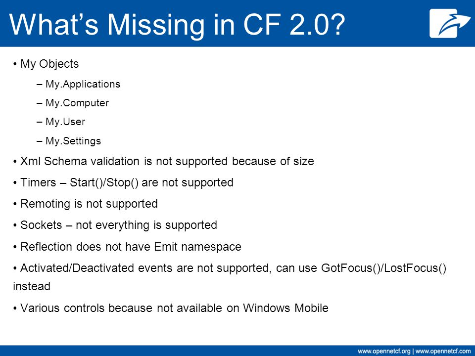 What's Missing in CF 2.0 My Objects