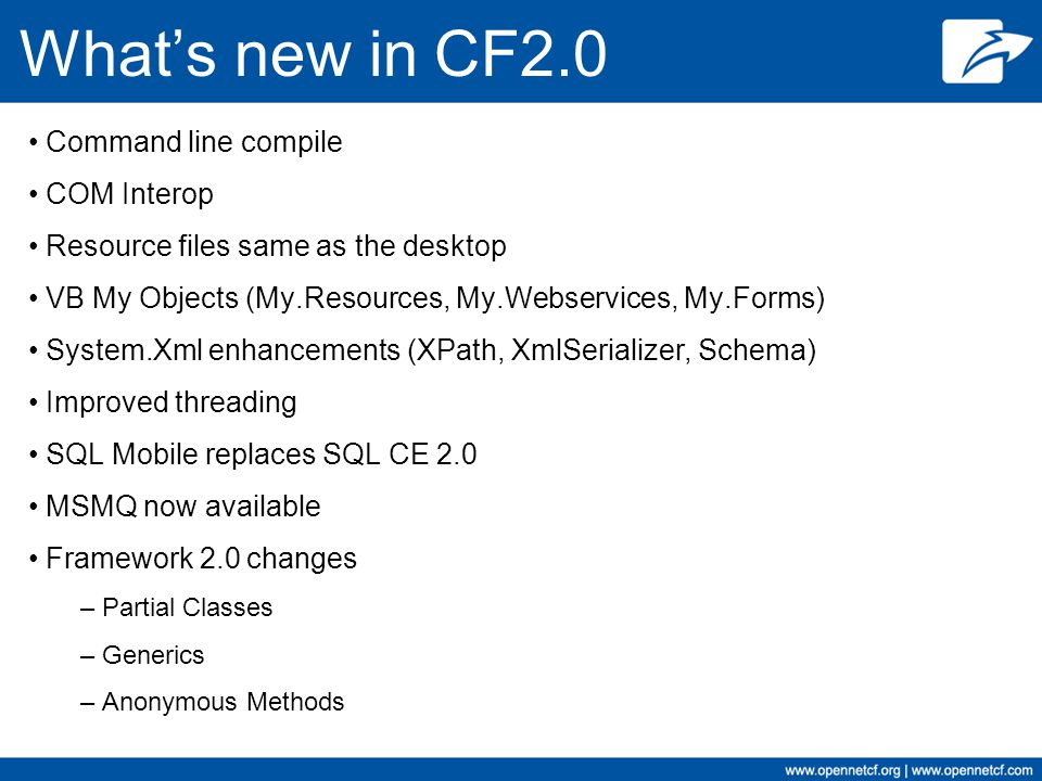 What's new in CF2.0 Command line compile COM Interop