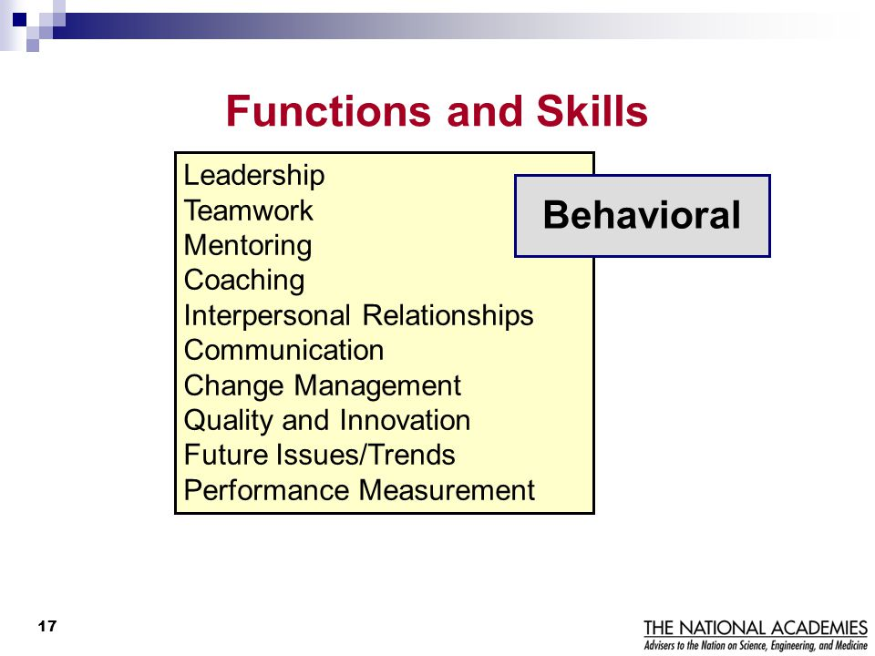 Functions and Skills Behavioral Leadership Teamwork Mentoring Coaching