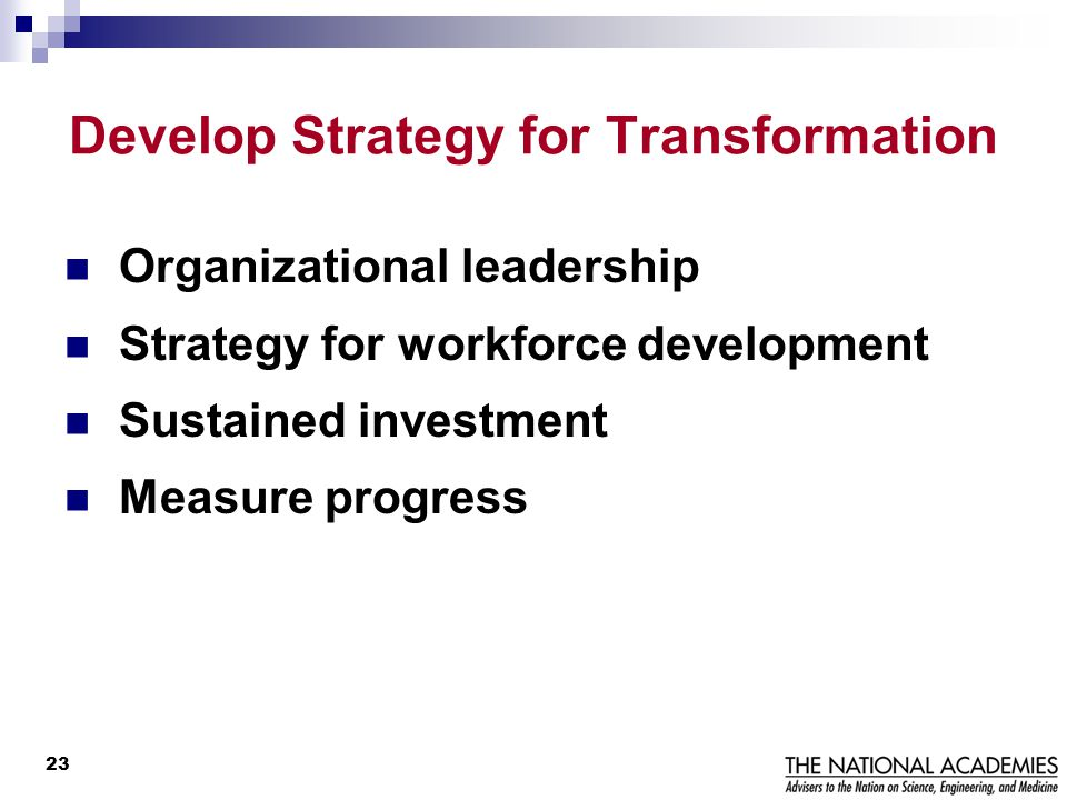 Develop Strategy for Transformation