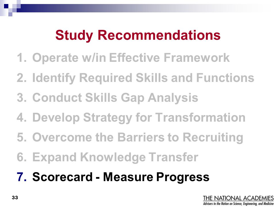 Study Recommendations