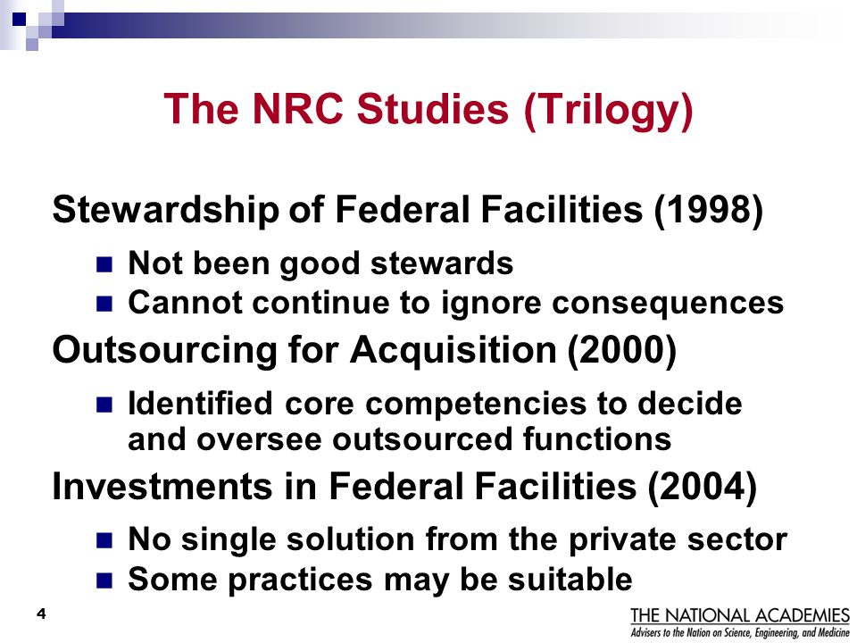 The NRC Studies (Trilogy)