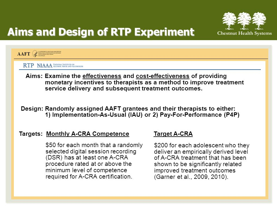 Aims and Design of RTP Experiment