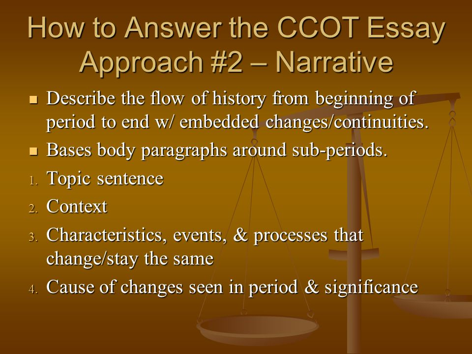How to Answer the CCOT Essay Approach #2 – Narrative