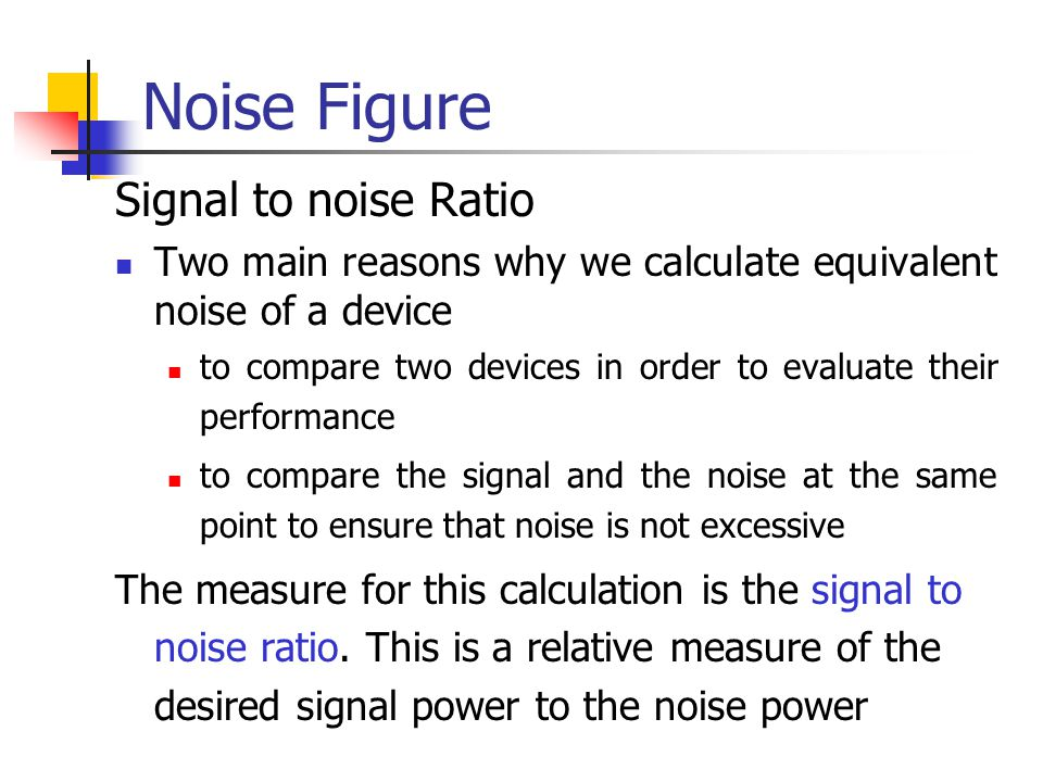 Noise Figure Signal to noise Ratio