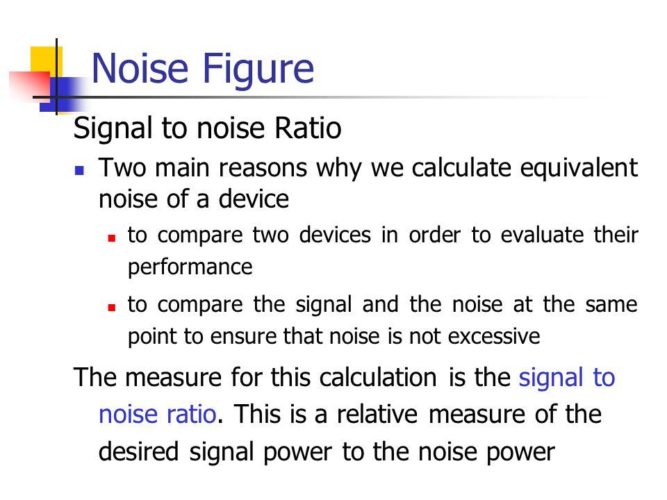Noise Figure Signal to noise Ratio