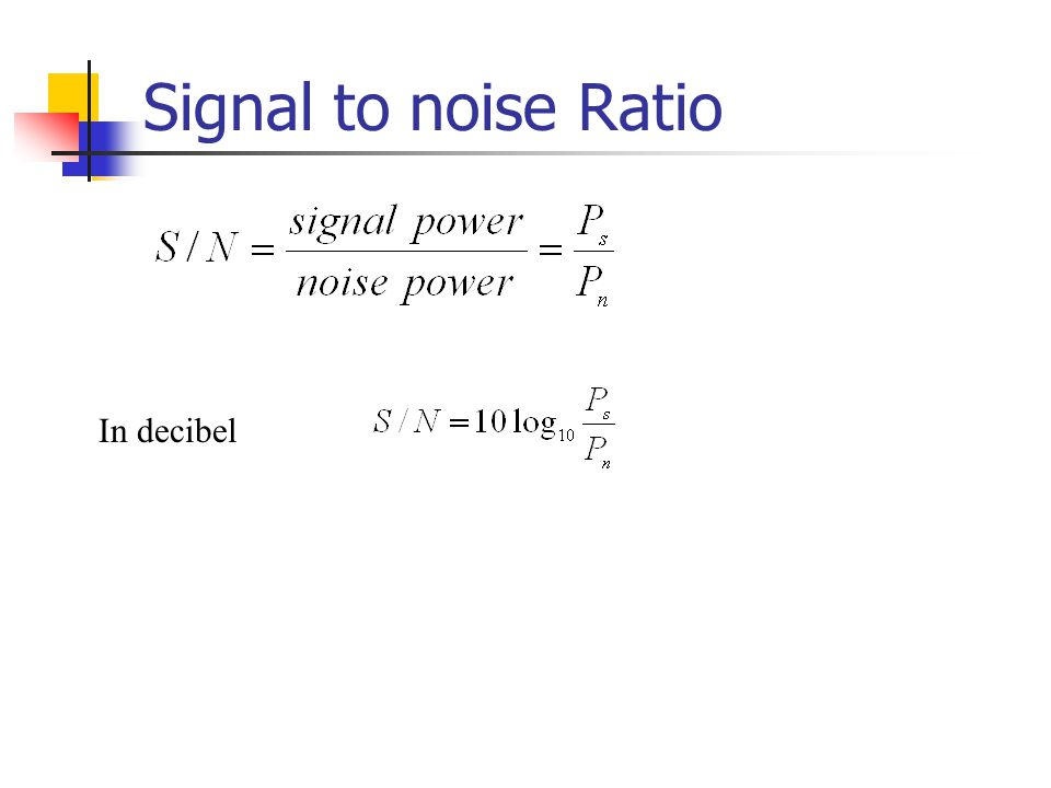 Signal to noise Ratio In decibel