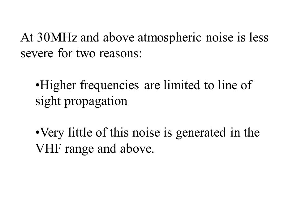 At 30MHz and above atmospheric noise is less severe for two reasons: