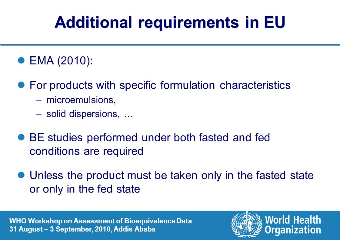 Additional requirements in EU