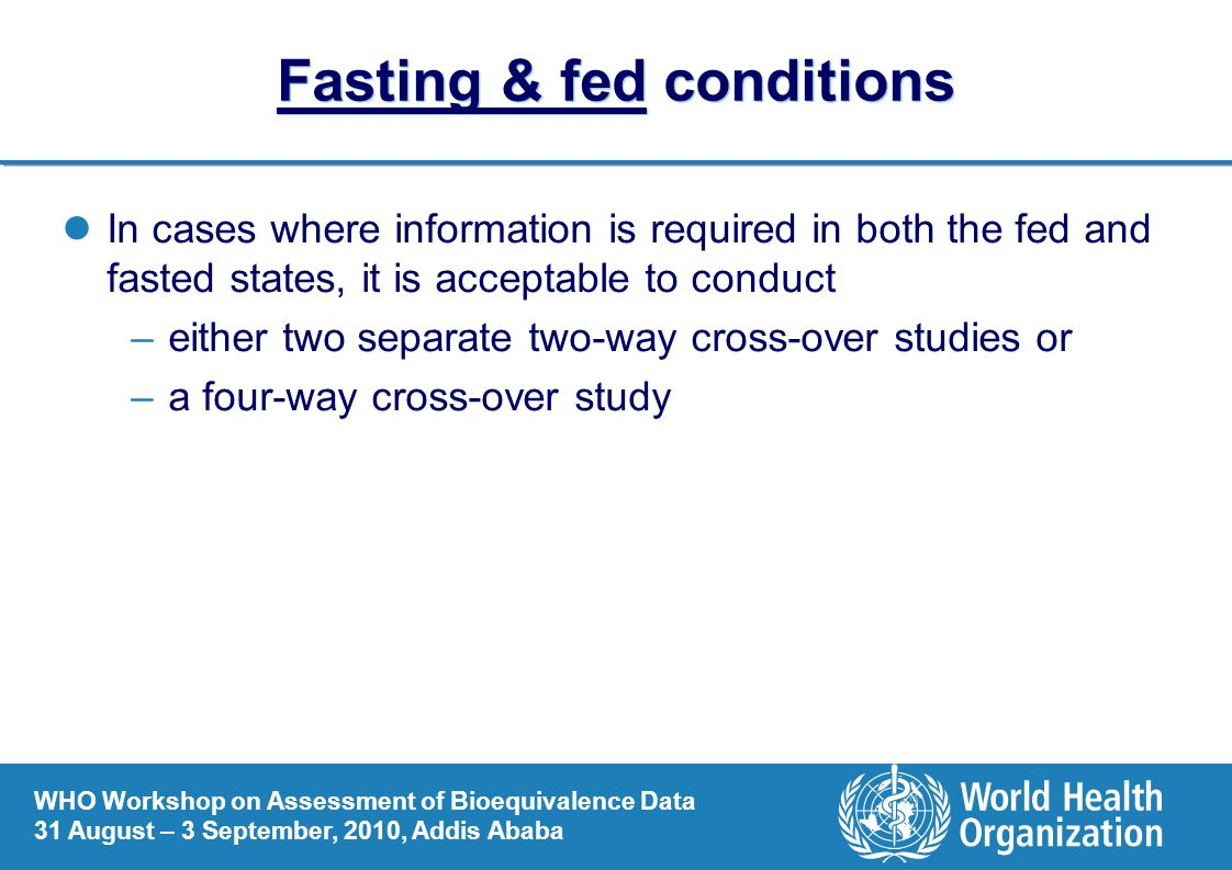 Fasting & fed conditions