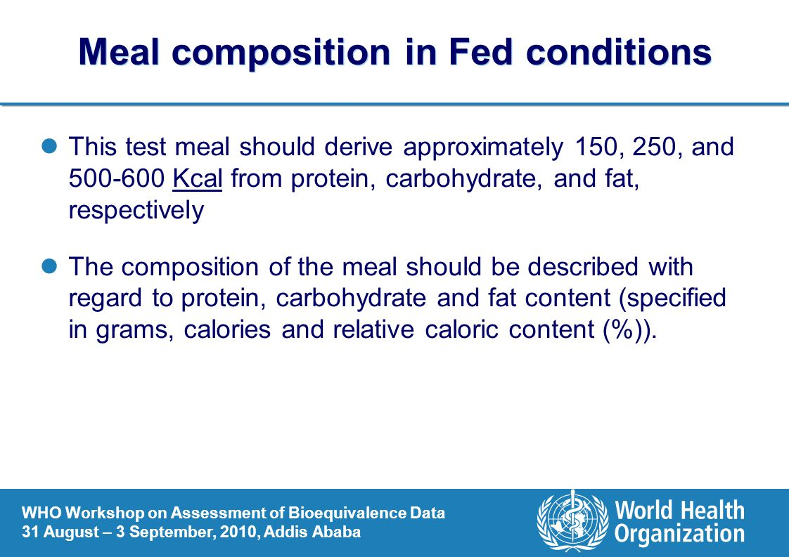 Meal composition in Fed conditions
