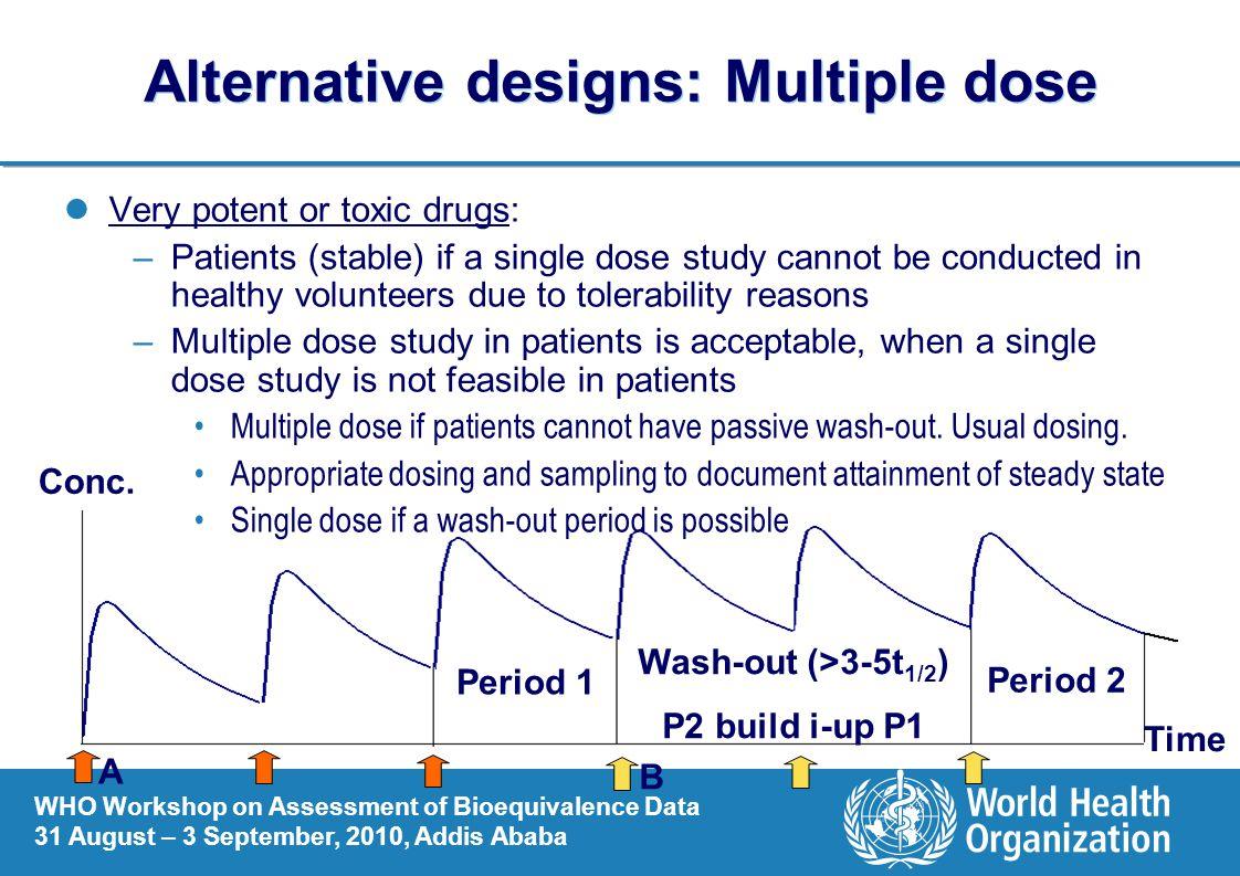 Alternative designs: Multiple dose