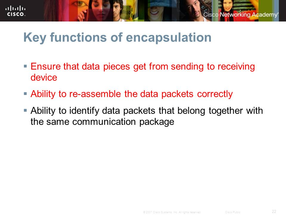 Key functions of encapsulation