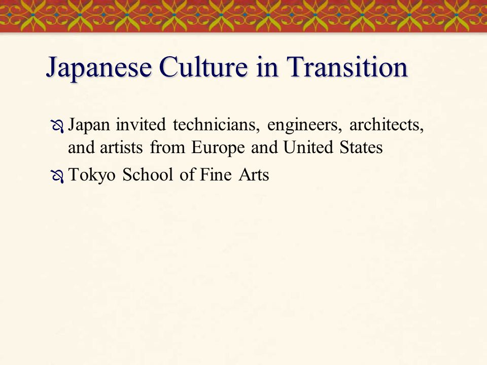 Japanese Culture in Transition