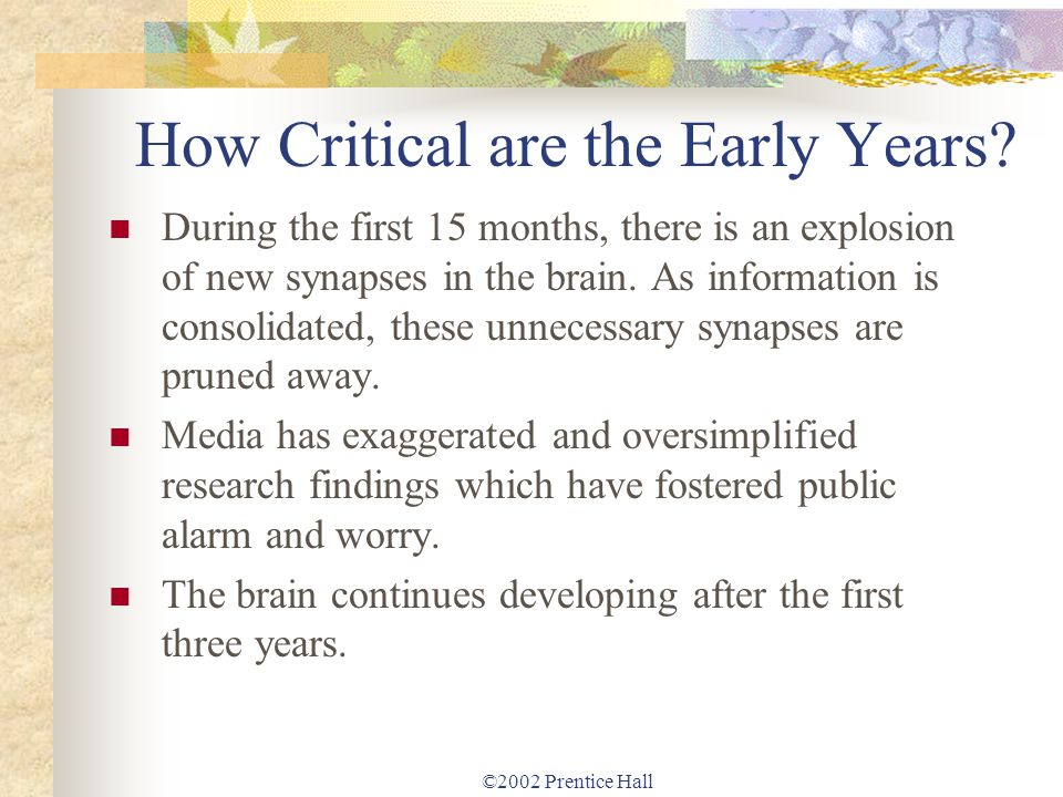 How Critical are the Early Years