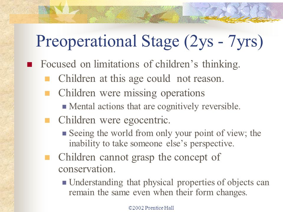 Preoperational Stage (2ys - 7yrs)