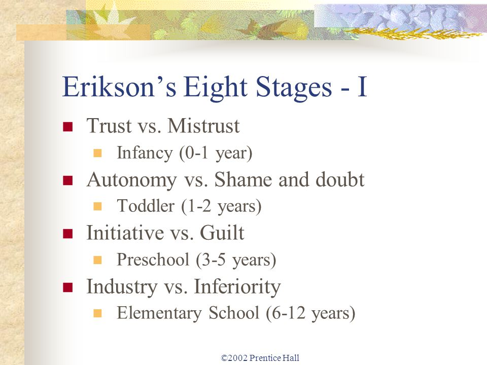 Erikson's Eight Stages - I
