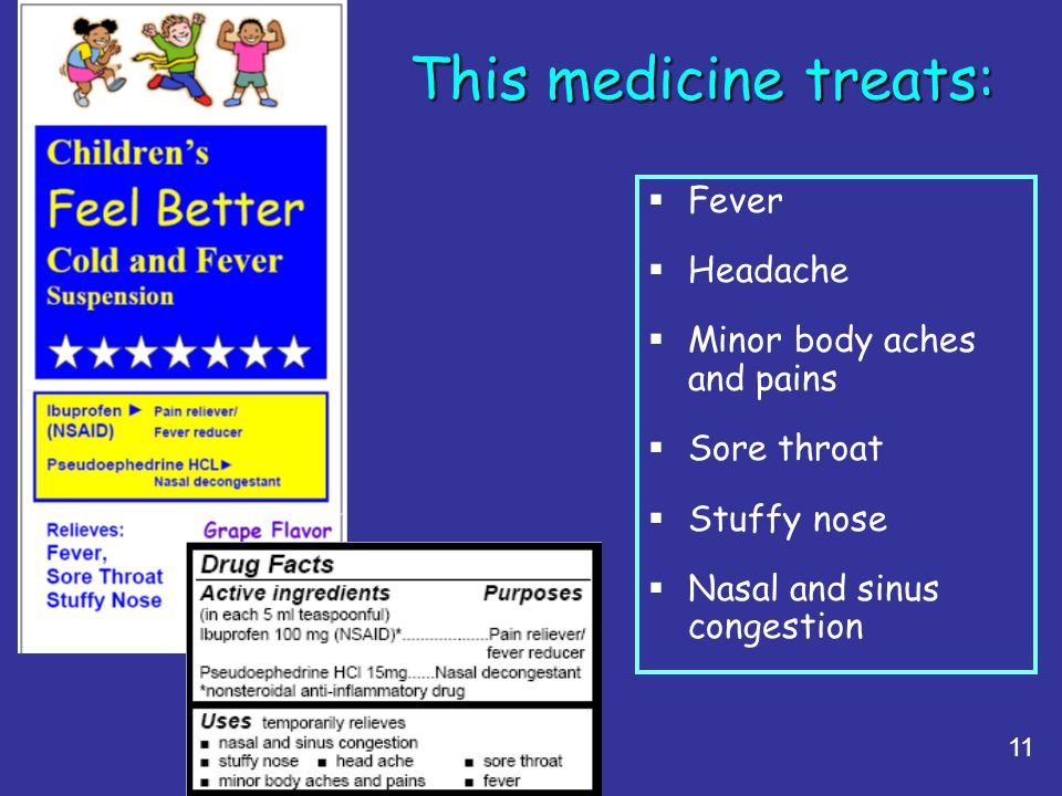 This medicine treats: Fever Headache Minor body aches and pains