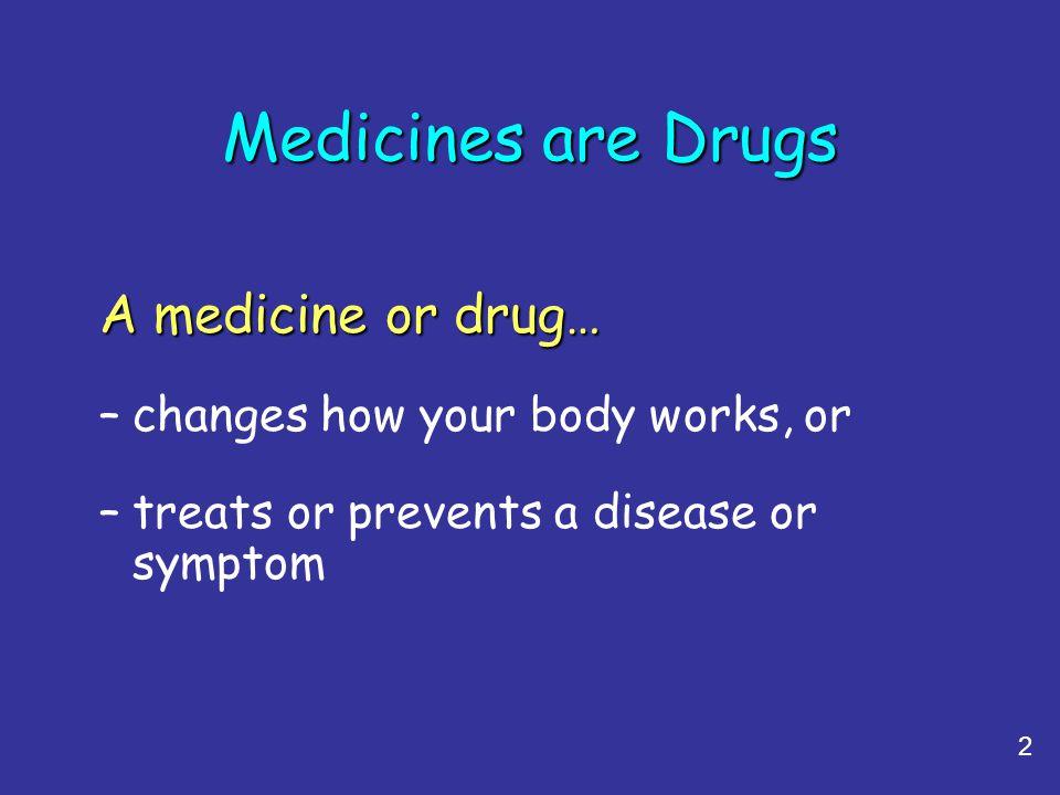 Medicines are Drugs A medicine or drug…