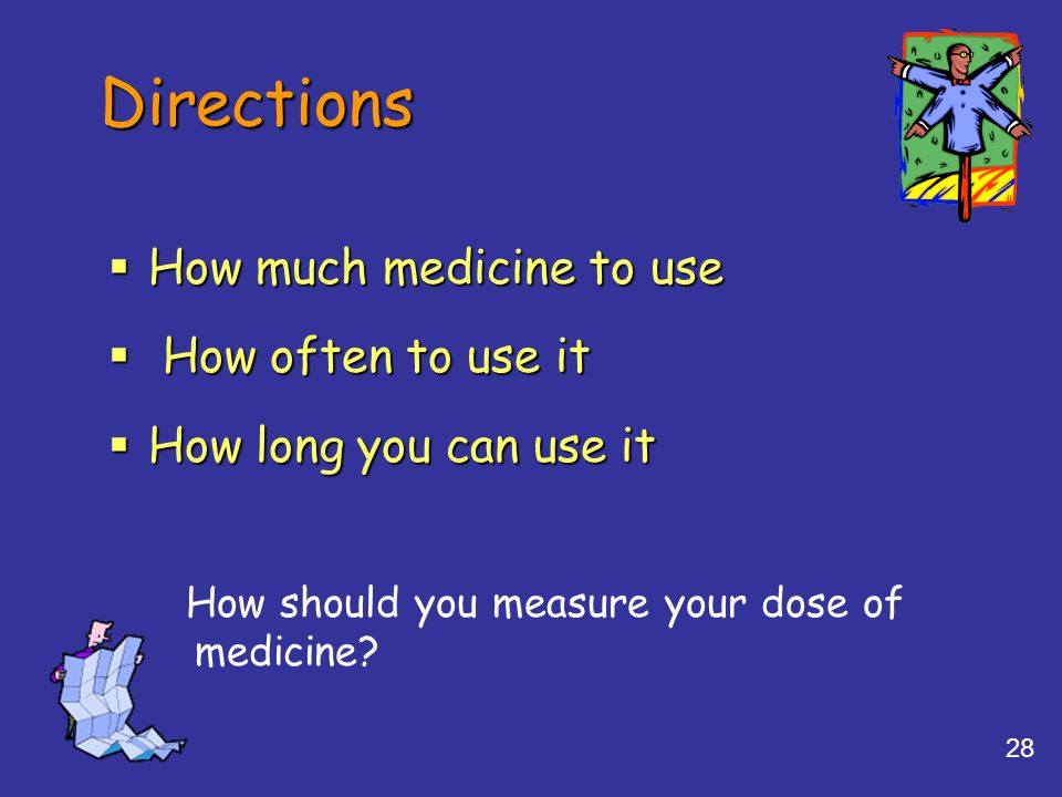 Directions How much medicine to use How often to use it