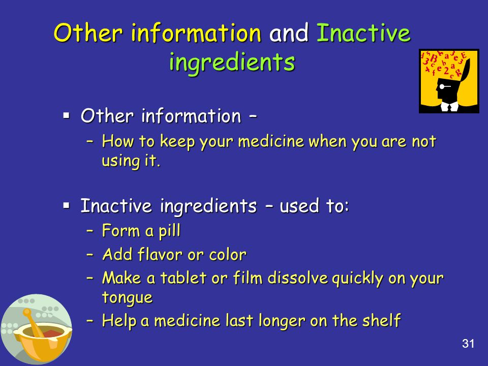 Other information and Inactive ingredients