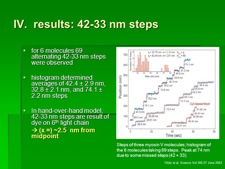 IV. results: 42-33 nm steps for 6 molecules 69 alternating 42-33 nm steps were observed.
