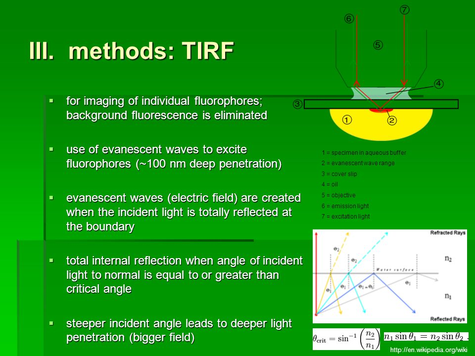 III. methods: TIRF for imaging of individual fluorophores; background fluorescence is eliminated.