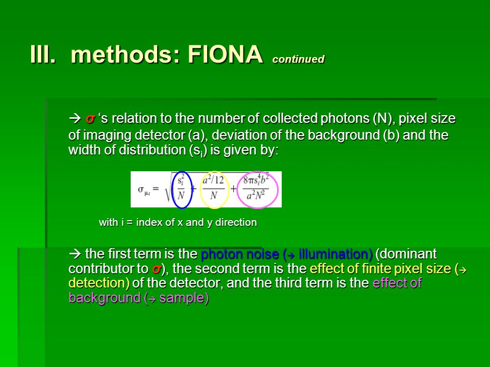 III. methods: FIONA continued