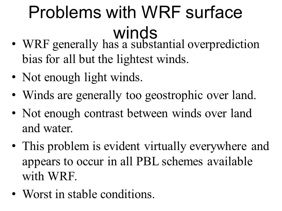 Problems with WRF surface winds