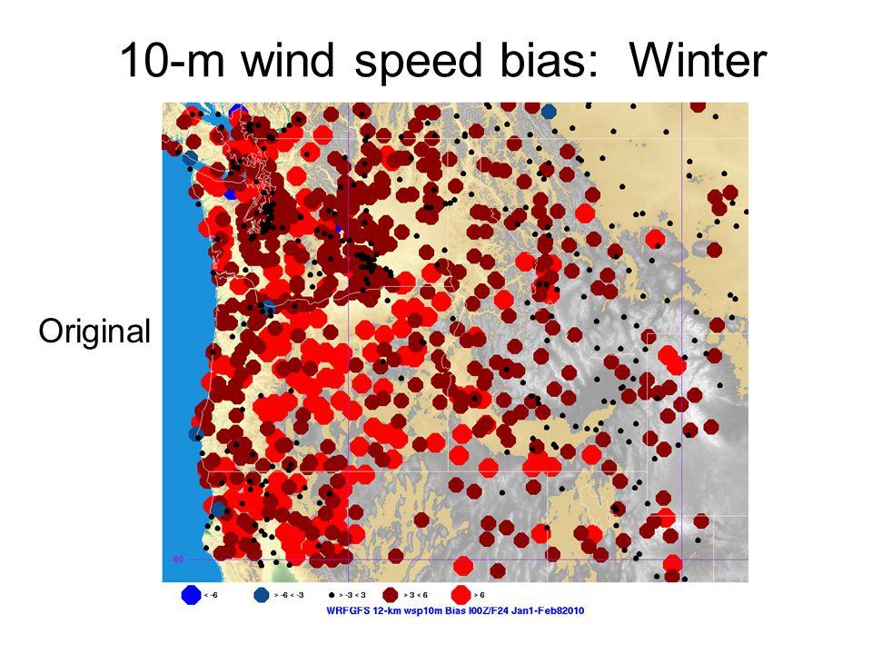10-m wind speed bias: Winter