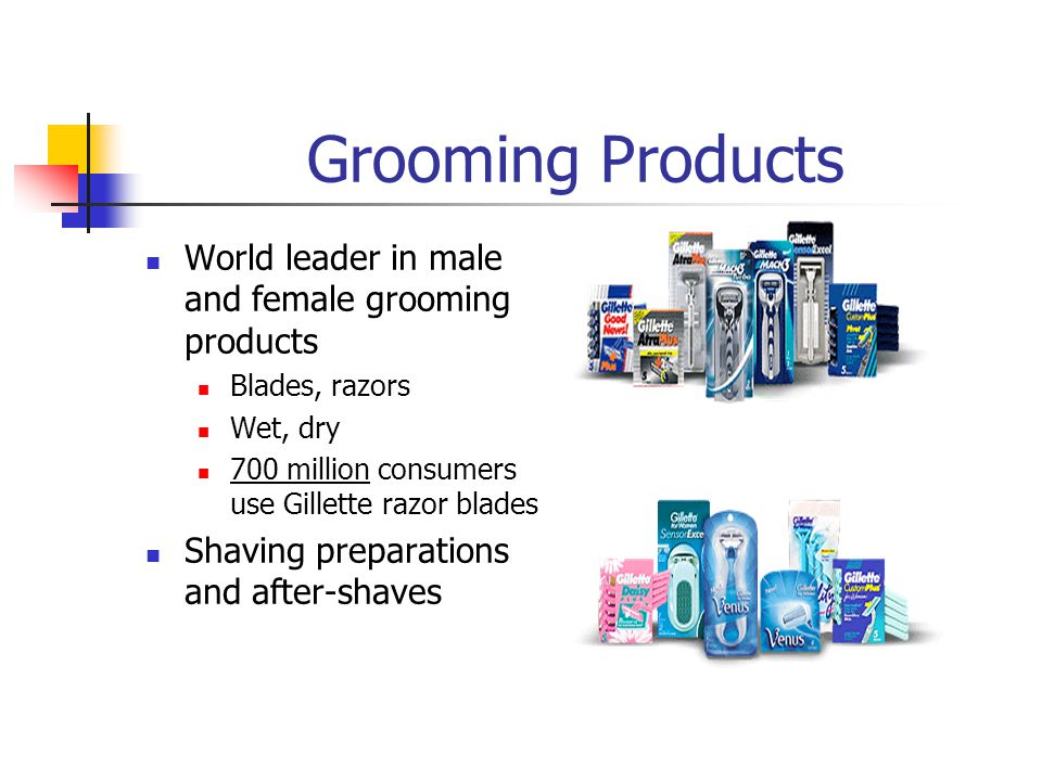 Grooming Products World leader in male and female grooming products