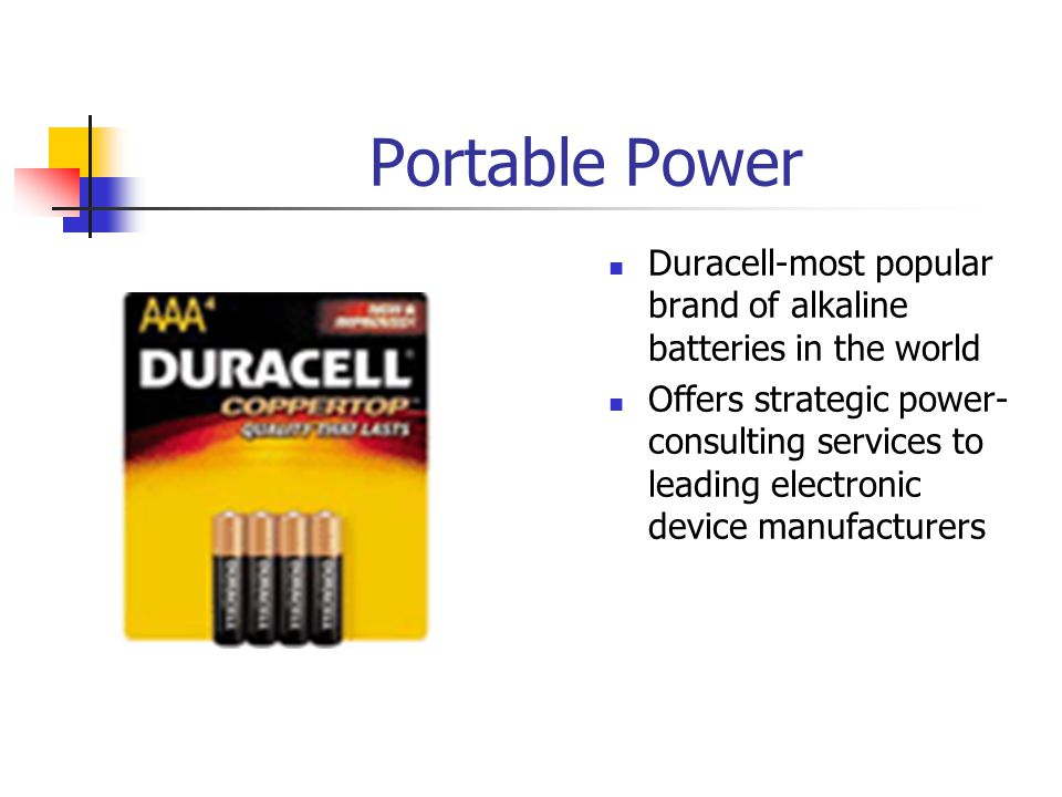 Portable Power Duracell-most popular brand of alkaline batteries in the world.