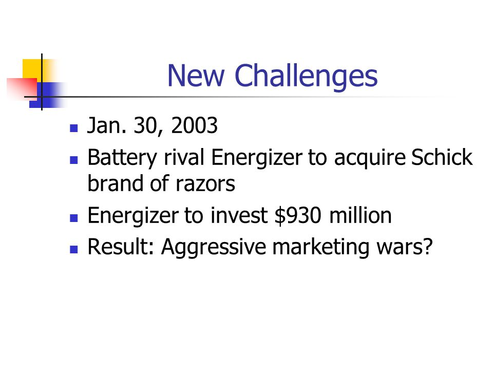 New Challenges Jan. 30, 2003. Battery rival Energizer to acquire Schick brand of razors. Energizer to invest $930 million.