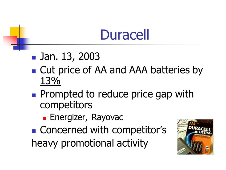 Duracell Jan. 13, 2003 Cut price of AA and AAA batteries by 13%