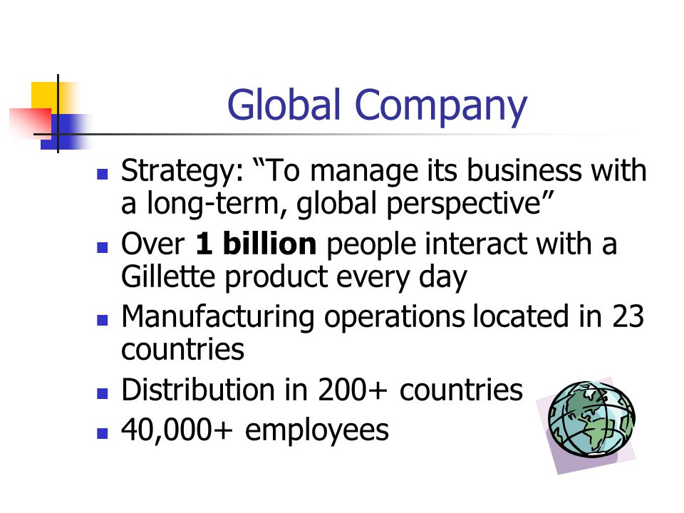 Global Company Strategy: To manage its business with a long-term, global perspective
