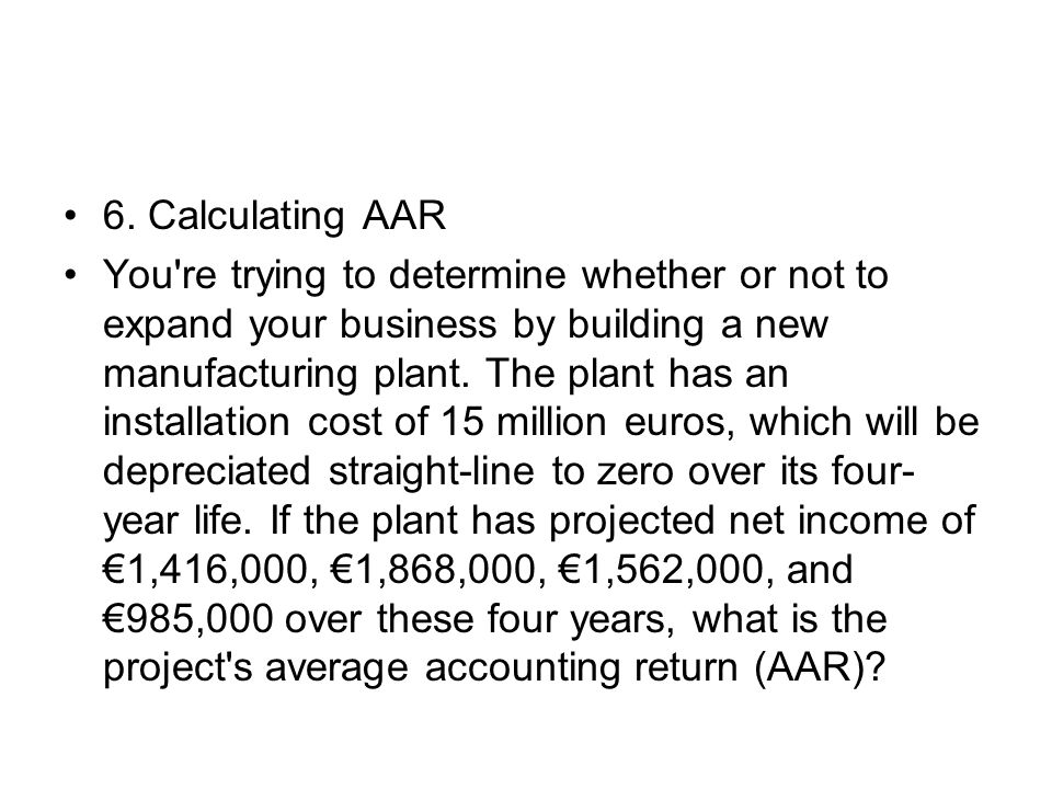 6. Calculating AAR