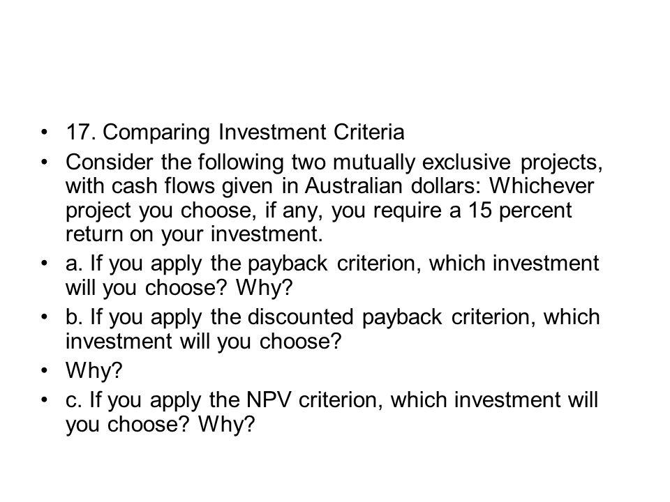 17. Comparing Investment Criteria