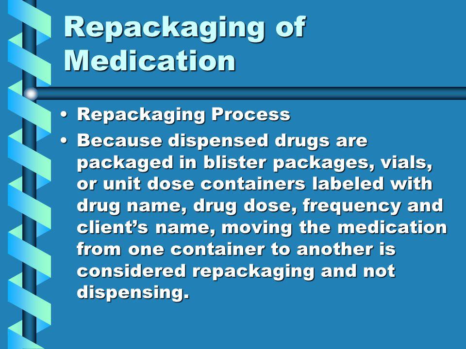 Repackaging of Medication